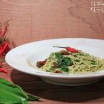 Pasta mit Bärlauch Pesto und getrockneten Tomaten