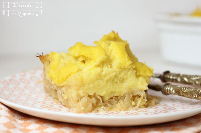 Sauerkraut Kartoffelpüree Auflauf - Freude am Kochen vegan