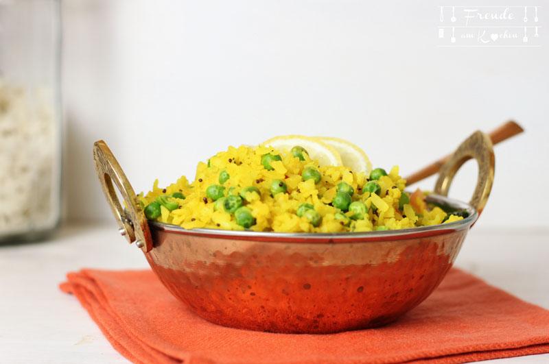 Poha - indisches Gericht aus Reisflocken - Freude am Kochen vegan