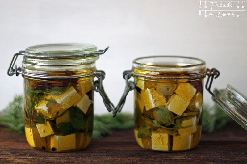 Eingelegter selbstgemachter Tofu mit Bärlauch - Freude am Kochen - Rezept vegan