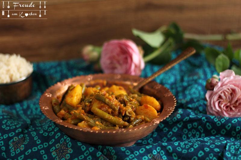Aloo Phalli - Fisolen (Grüne Bohnen) Kartoffel Gemüse - inisch - Freude am Kochen