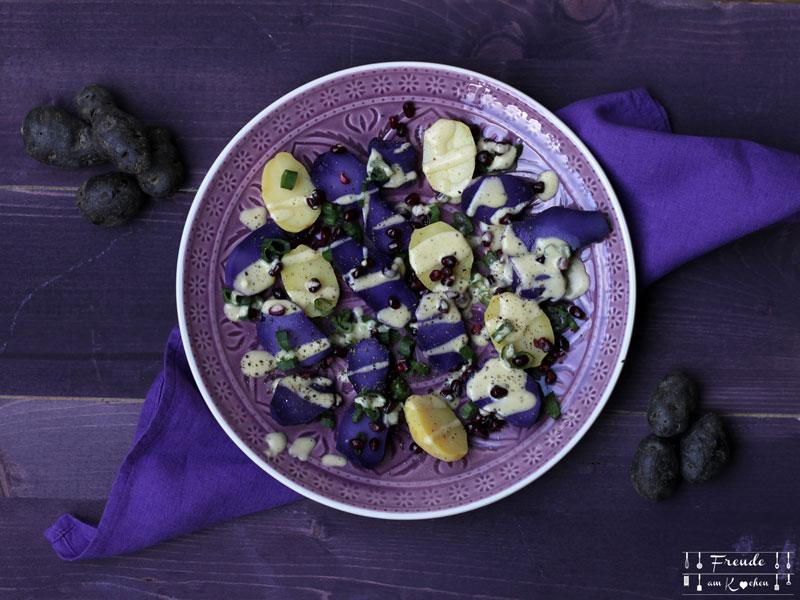 Lila Kartoffelsalat mit Rucola vegan - Freude am Kochen