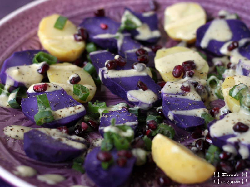 Lila Kartoffelsalat mit Rucola - Freude am Kochen