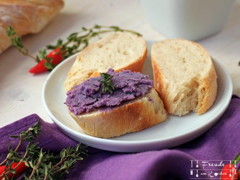 Lila Kartoffelaufstrich - Erdäpfelkas - vegan - Freude am Kochen
