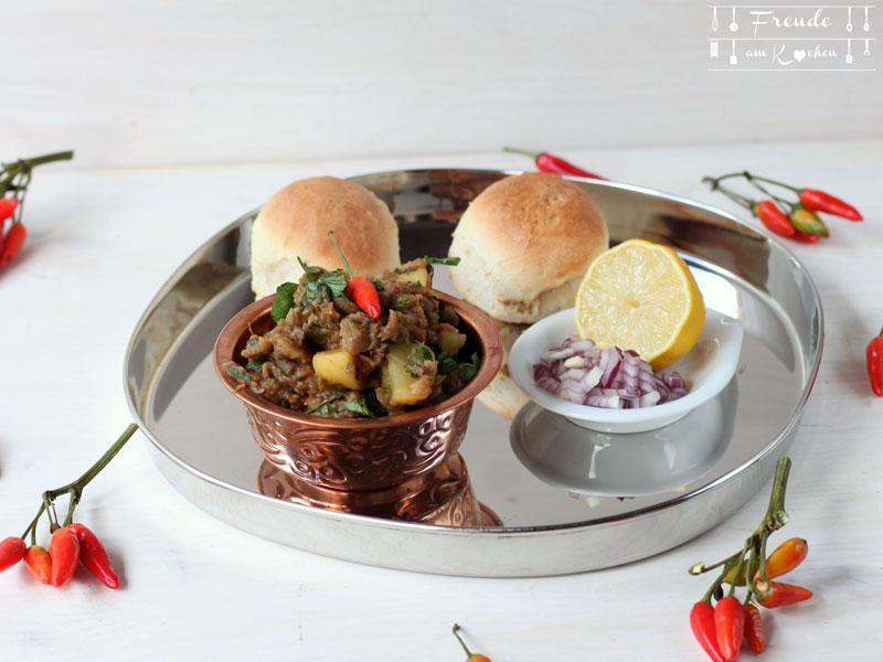 Melanzani Pav Bhaji - indisches Auberginen Gemüse - Freude am Kochen