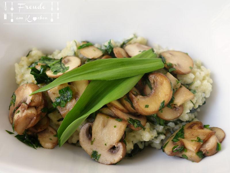 Bärlauch Risotto mit gebratenen Champignons vegan - Freude am Kochen