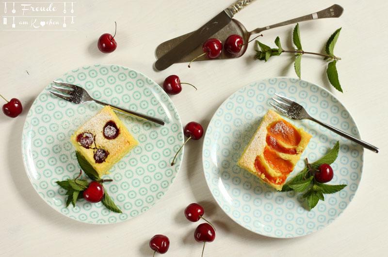 Kirschen Marillen Aprikosen Blechkuchen vegan - Rezept Freude am Kochen