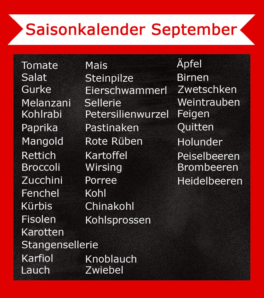 September Saisonkalender - Was hat im September Saison - Freude am Kochen