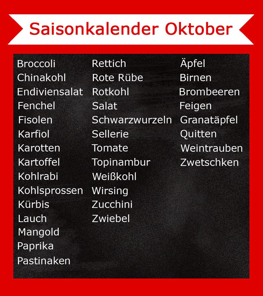 Saisonkalender im Oktober - Was hat Saison? - Freude am Kochen - Vegan