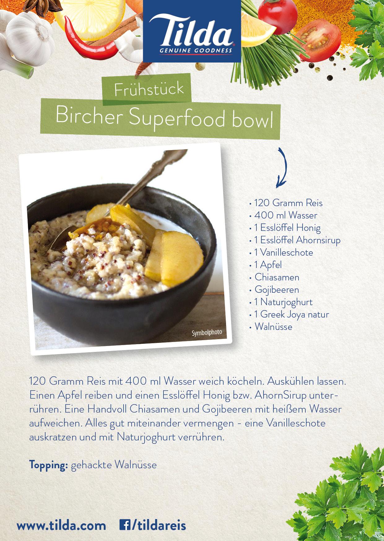 Bircher Superfood Bowl mit Tilda Basmati Reis - Freude am Kochen - vegan