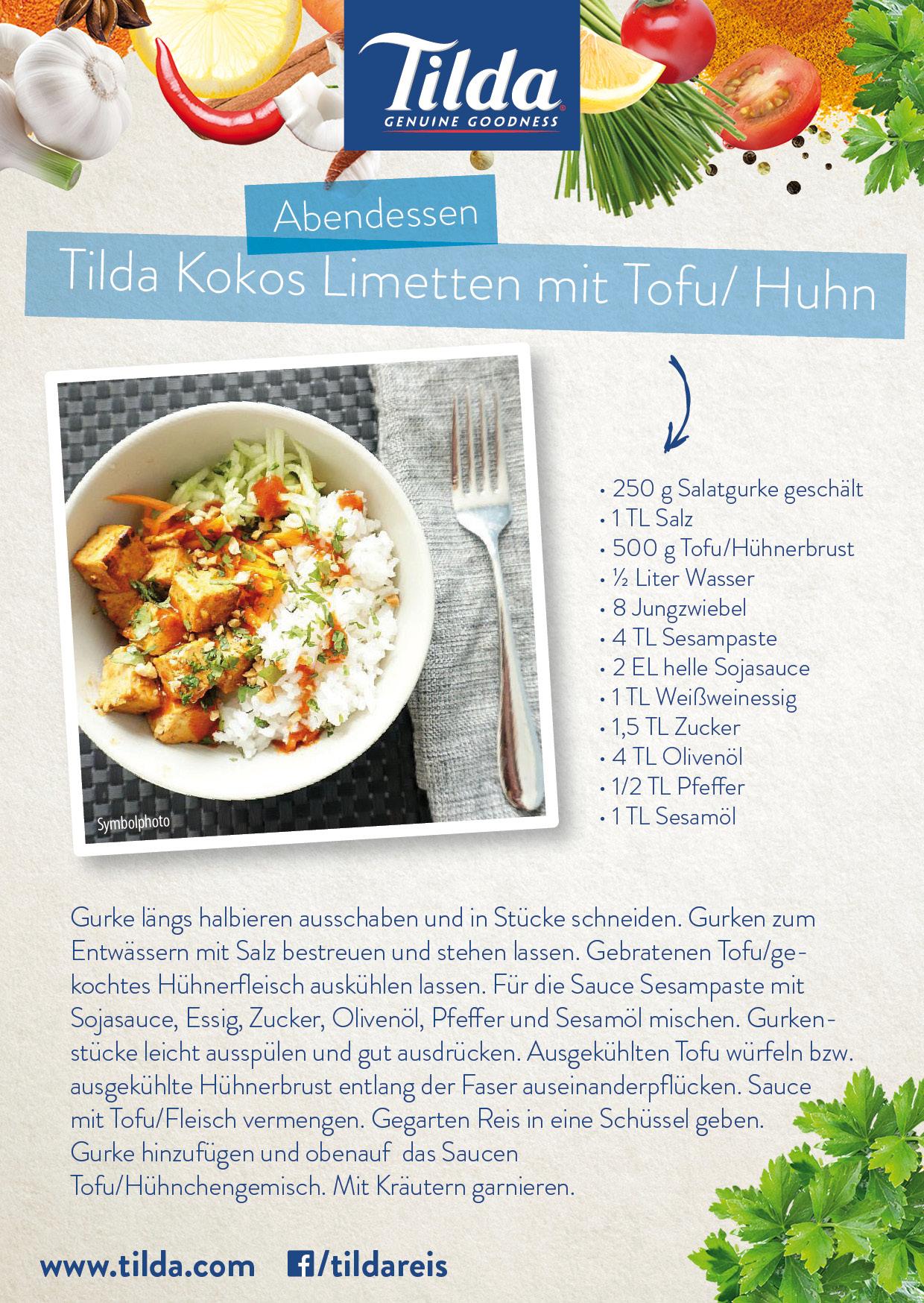 Kokos Limetten Reis mit Tofu mit Tilda Basmati Reis - Freude am Kochen - vegan