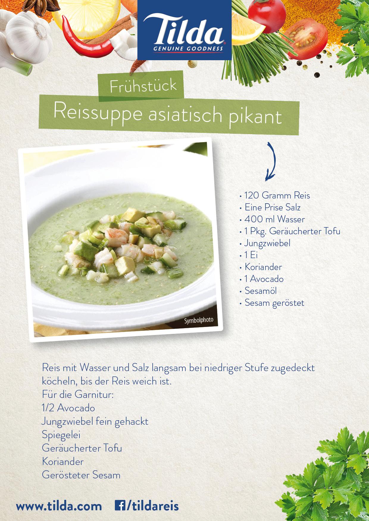 Reissuppe asiatisch pikant mit Tilda Basmati Reis - Freude am Kochen - vegan