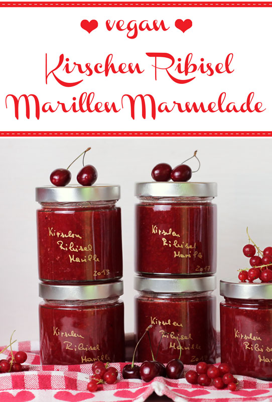 Kirschen Ribisel Marillen Marmelade - Freude am Kochen vegan