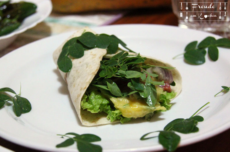 Mango Guacamole Wraps mit frischem Moringa - Freude am Kochen vegan