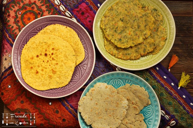 Indische Roti Chapati- glutenfrei - Kichererbsen - Mais - Reis - Freude am Kochen vegan