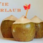 Frisches Kokoswasser aus der Trink-Kokosnuss