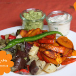 Kürbis Pommes mit Avocado-Creme & Ofengemüse mit Artischocken-Dip
