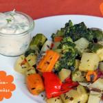 Ofengemüse mit Artischocken-Joghurt-Sauce