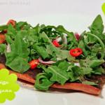 Pizza Covaccino con Ruccola & funghi- vegetarisch