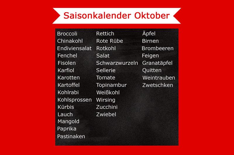 Saisonkalender im oktober was hat saison freude am kochen - Kochen nach saison ...