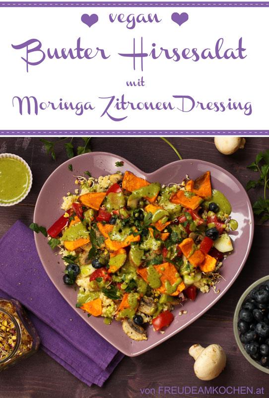 Bunter Hirsesalat mit Zitronen Moringa Dressing - Freude am Kochen vegan